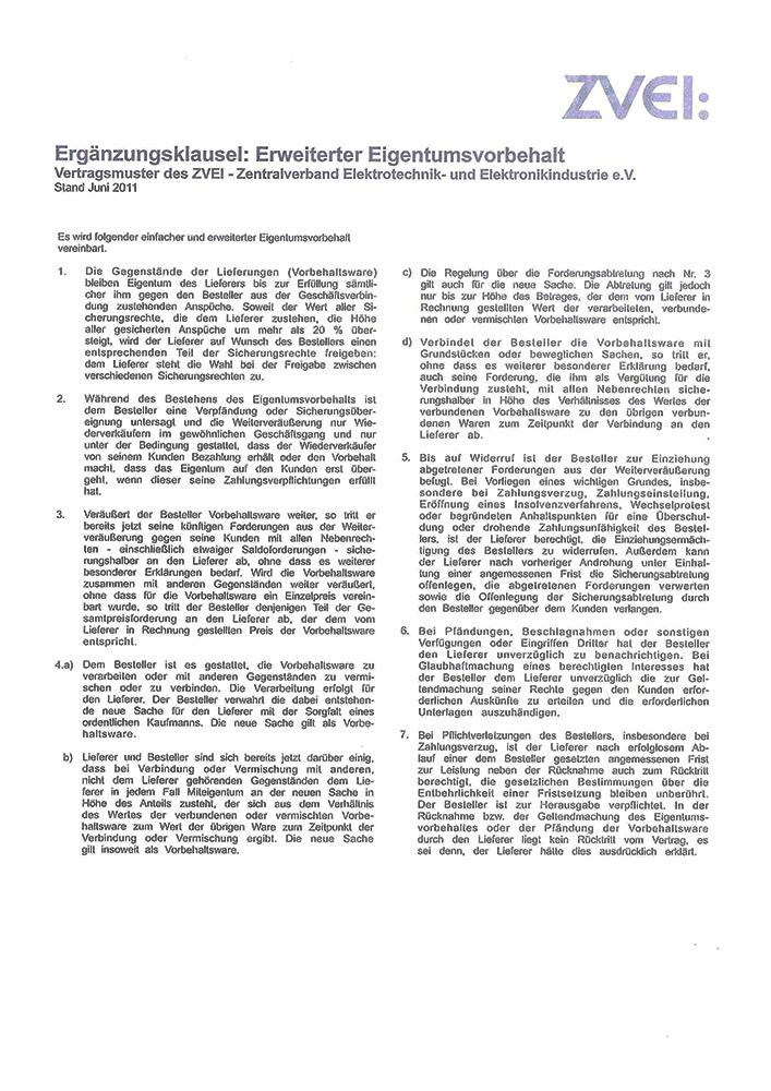 Ergänzungsklausel: Erweiterter Eigentumsvorbehalt