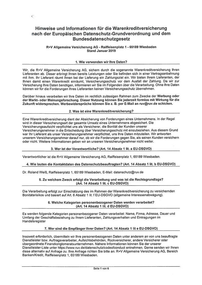 Hinweise und Informationen für die Warenkreditversicherung nach der Europäischen Datenschutz-Grundverordnung und dem Bundesdatenschutzgesetz